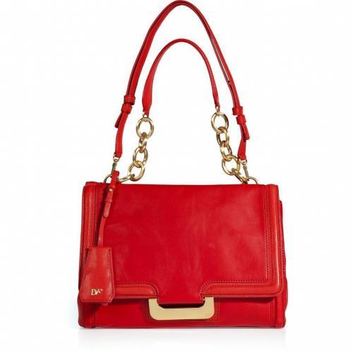 Diane von Furstenberg Lipstick Red Leather New Harper Shoulder Bag
