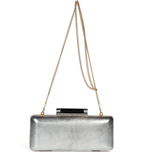 Diane von Furstenberg Silver Tonda Metallic Clutch Bag