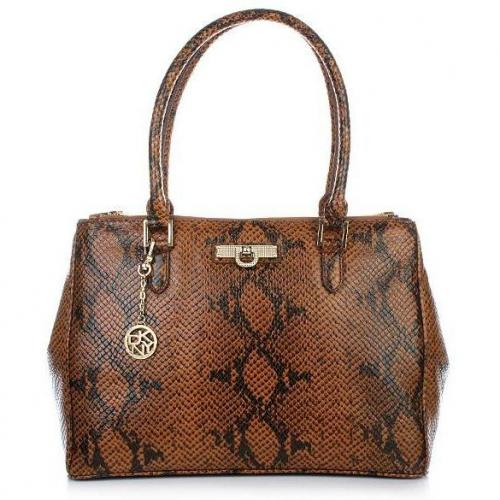 DKNY Beekman - Printed Snake W/Diamonti Mini D Travel Bag Dark Brown