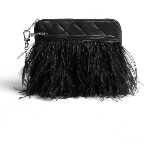 DKNY Black Feather Wrap Clutch