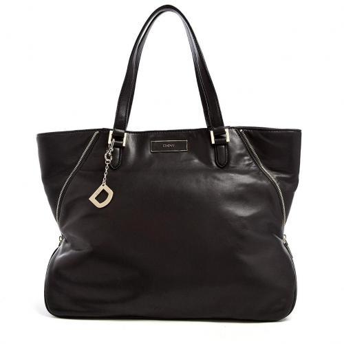 DKNY Black Leather Long Zip Tote Bag