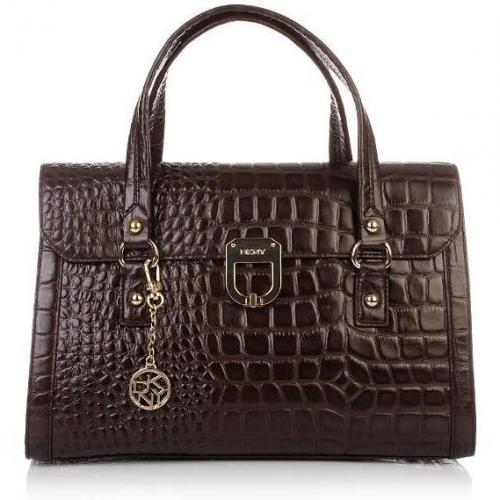 DKNY Gramercy Croco Leather Dark Brown