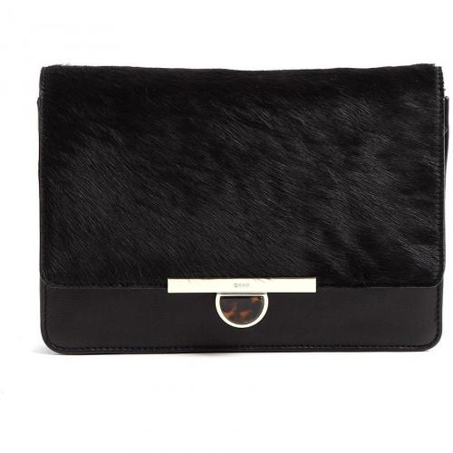 DKNY Large Black Haircalf Leather Clutch