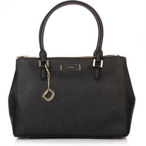 DKNY Saffiano Leather W/Zip Black Medium