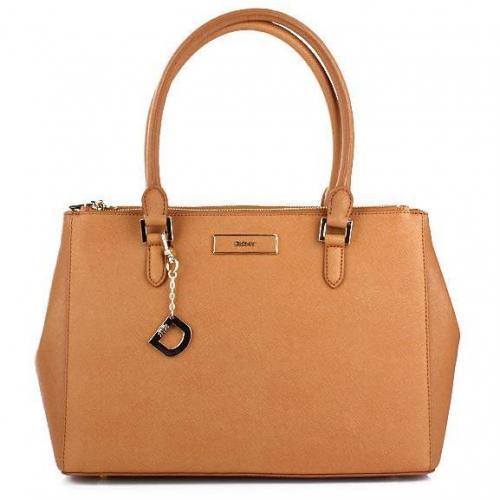 DKNY Saffiano Leather W/Zip Camel Medium