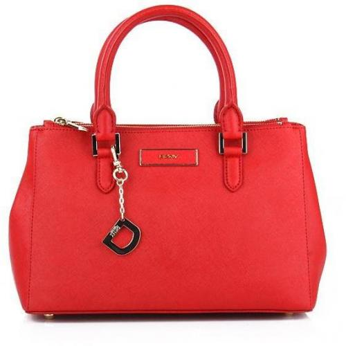 DKNY Saffiano Leather W/Zip Red Small