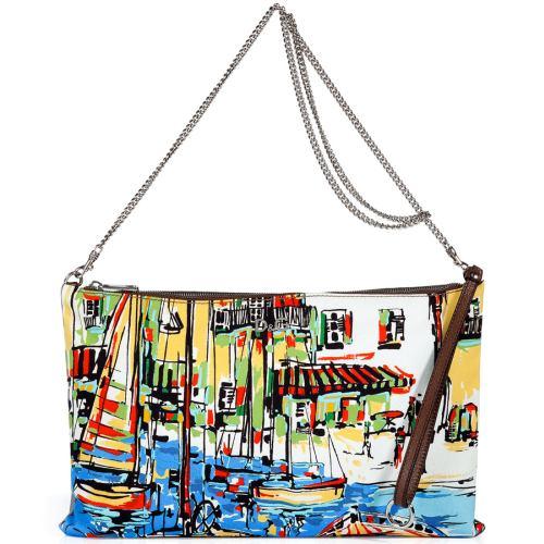 D&G Dolce & Gabbana Azure Printed Canvas Clutch Bag