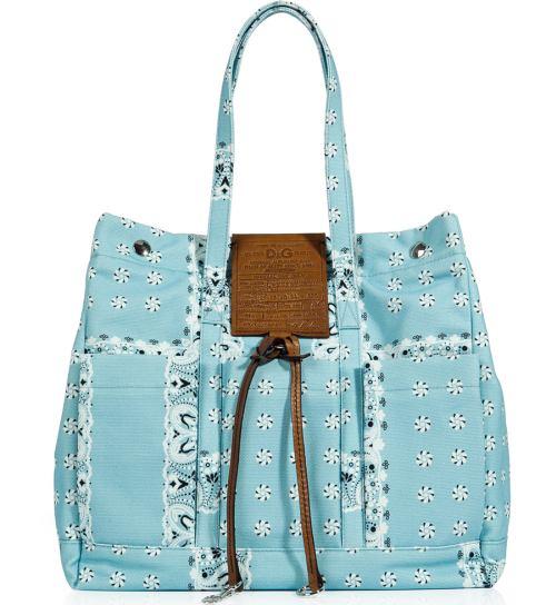 Dolce & Gabbana Azure Printed Canvas Tasche