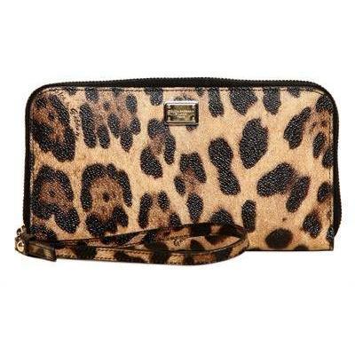 Dolce & Gabbana - Leopard Druck Pvc Zip Around Brieftasche