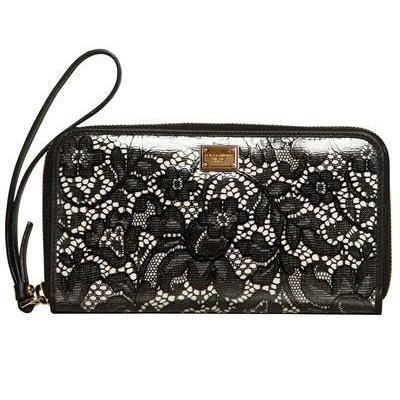 Dolce & Gabbana - Spitze & Pvc Zip Herum Brieftasche