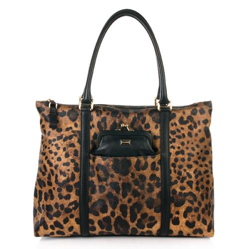 Dolce&Gabbana Shopper Leopard Print Canvas Leotasche