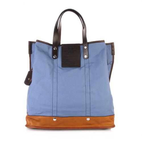 Dolce & Gabbana Shopper Borsa A Mano Nylon Canvas Blue