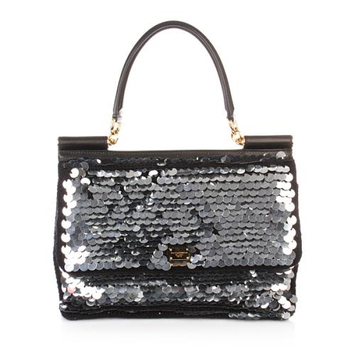 Dolce&Gabbana Tasche 2012 Borsa A Spalla/Hobo Cervo Antic Black Pailletten Medium