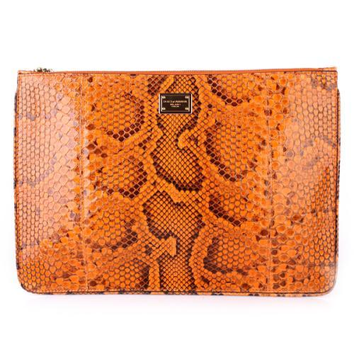 Dolce&Gabbana Pochette Python Arancio/Smeraldo