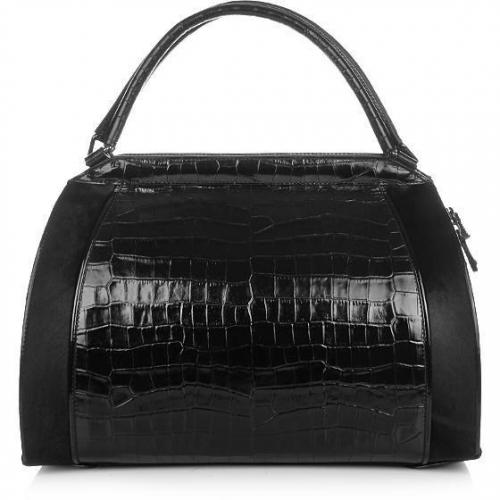 Donna Karan Hydroform Handbag Croco Black