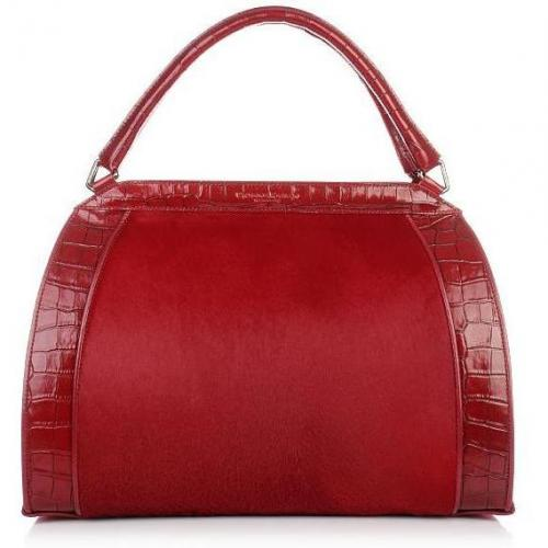 Donna Karan Hydroform Handbag Haircalf Carntion Red