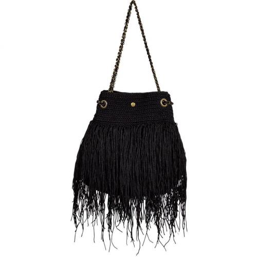 Elliot Mann Black Fringed Shoulder Bag