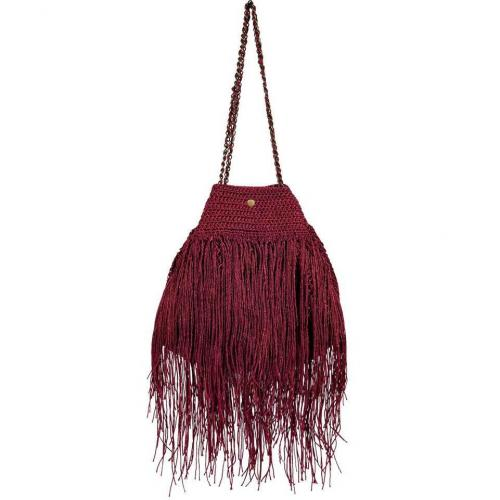 Elliot Mann Maroon Fringed Shoulder Bag