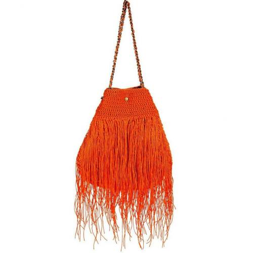 Elliot Mann Orange Fringed Shoulder Bag