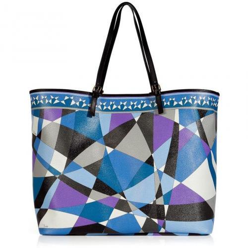 Emilio Pucci Azure/Violet Geometric Print Shoulder Bag