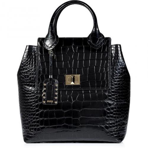 Emilio Pucci Black Croco-Embossed Leather Tote