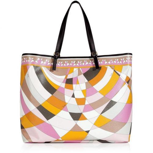 Emilio Pucci Mandarin/Pale Rose Geometric Print Shoulder Bag