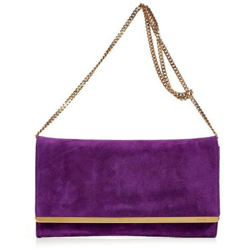 Emilio Pucci Purple Suede Clutch with Shoulder Strap