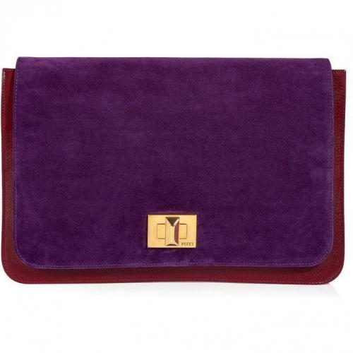 Emilio Pucci Ruby/Amethyst Combo Leather Clutch