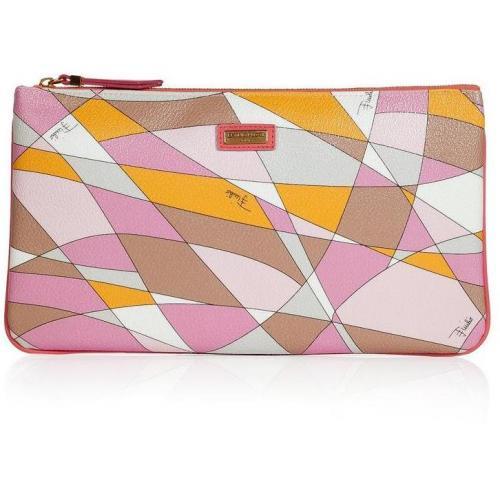 Emilio Pucci Taupe/Pale Rose Geometric Print Bag