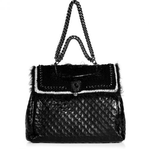 Ermanno Scervino Black Crochet Leather Bag