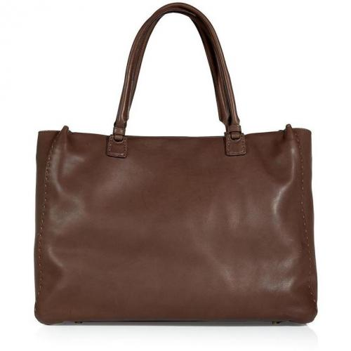 Ermanno Scervino Chocolate Stitched Leather Bag