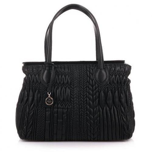 Escada Braided Black Leather Bag
