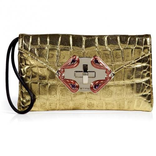 Etro Gold Croco Embossed Clutch