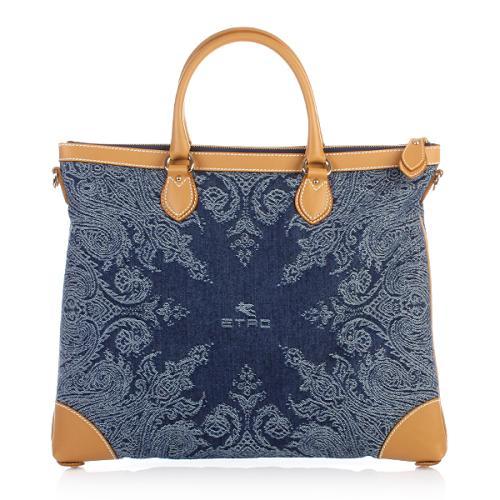 Etro Shopper Con Tracolla Cotton Blau