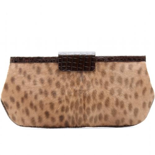 Nancy Gonzalez Clutch Fell Braun/Beige