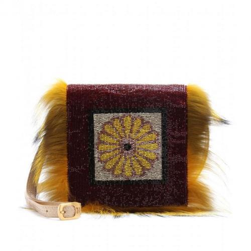 Fendi Daisy Perlenbesetzte Schlangenlederclutch Bordeaux+Phard+Yellow
