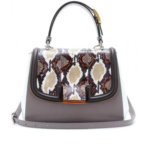 Fendi Silvana Ledertasche Mit Schlangenlederdetail Cream White Grey