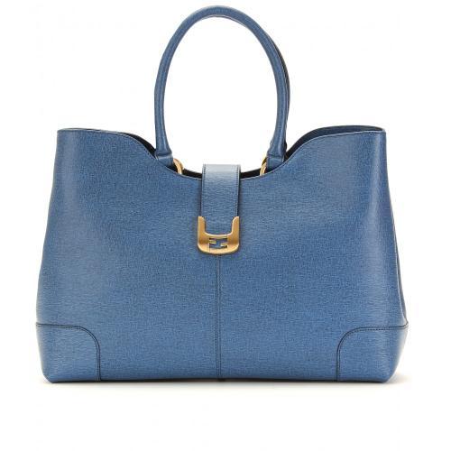 Fendi Chameleon Leder Shopper Blau/Grün
