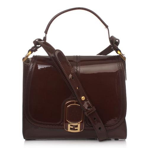 Fendi New Silvana Piccola Vernice Marrone+Oro