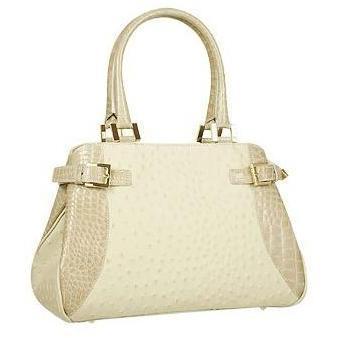Fontanelli Beige-graue Handtasche aus Leder mit Kroko- & Straußenprägung