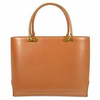 Fontanelli Camelfarbene Handtasche aus poliertem italienischem Leder