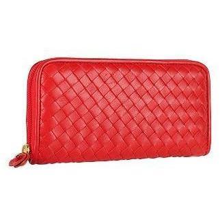 Fontanelli Damenbrieftasche aus gewobenem Leder in rot mit Reißverschluss