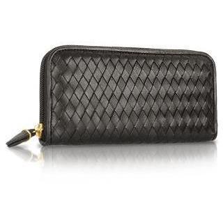 Fontanelli Damenbrieftasche aus gewobenem Leder in schwarz mit Reißverschluss