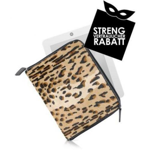 Fontanelli Etui für Tablet aus Kalbshaar mit Leopardenprint