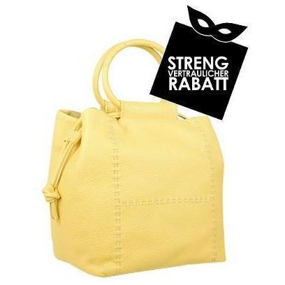 Fontanelli Gelbe eckige Tasche aus weichem Leder mit zuziehbarem Verschluss und Beutelchen