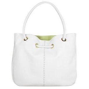 Fontanelli Geräumige umkehrbare Tasche aus weichem weißen Leder mit Beutelchen