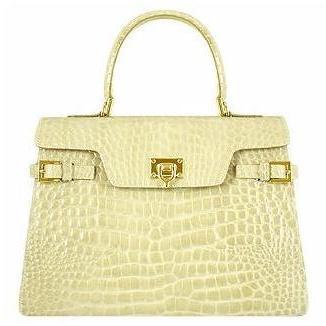 Fontanelli Glänzende sandfarbene Lederhandtasche im Kroko-Stil