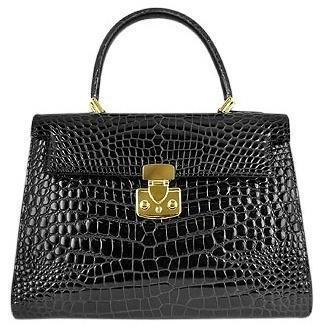 Fontanelli Glänzende schwarze Lederhandtasche im Kroko-Stil