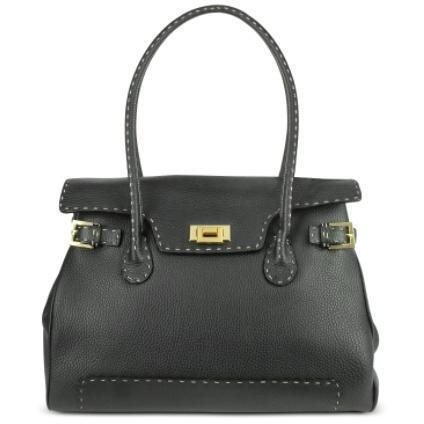 Fontanelli Grosse Handtasche aus Leder mit aufgesetzten Nähten in schwarz