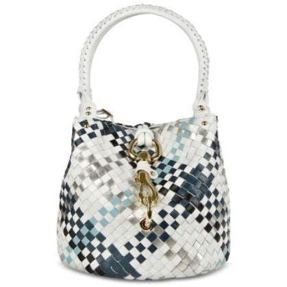 Fontanelli Handtasche aus gewobenem Leder in blau & weiss